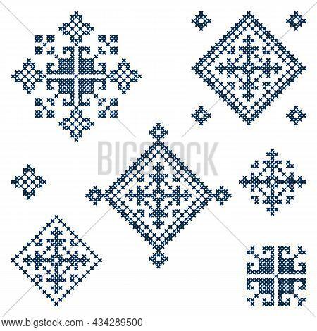 Zmijanje Folk Art Embroidery Style Vector Design Elements Set - Traditional Cross Stitch From Bosnia