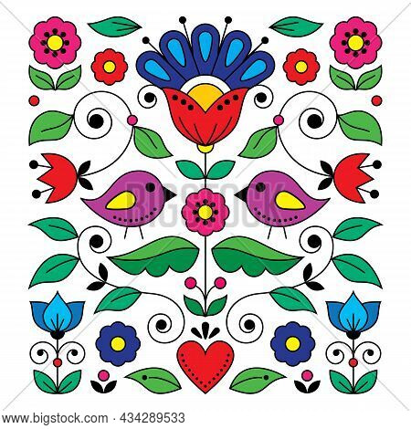 Scandinavian Folk Art Vector Greeting Card Or Invitaion Design Inspired By Traditional Embroidery Pa