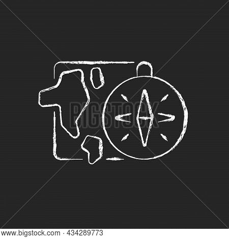 Geography Chalk White Icon On Dark Background. Compass Against Background Of Map. Round-the-world Tr