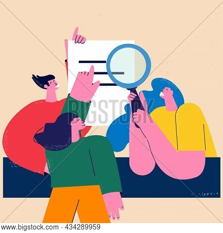 Business Report Audit, Data Evaluation, Document Inspection, Business Team, Office Work Flat Vector