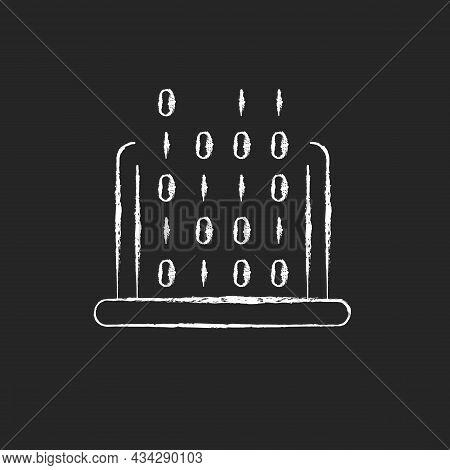 It Chalk White Icon On Dark Background. Coding Classes In Schools, Universities. Computer Knowledge.