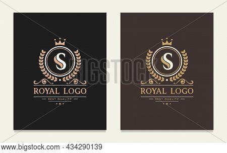 Letter S Monogram Design Template With A Crown. Elegant Frame Ornament Line Logo Design. Suitable Fo