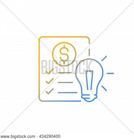 Financial Literacy Gradient Linear Vector Icon. Personal Money Management Goals, Personal Spending A