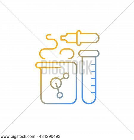 Chemistry Gradient Linear Vector Icon. Chemical Reaction In Beaker. Test Tube, Pipette, Flask. Labor
