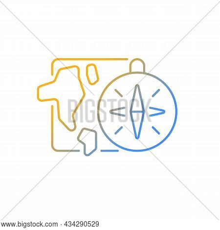 Geography Gradient Linear Vector Icon. Compass Against Background Of Map. Round-the-world Trip, Adve