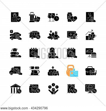 Employee Perks And Bonuses Black Glyph Icons Set On White Space. Workplace Benefits. Enhancing Worke