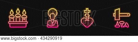 Set Line Religious Cross In Heart, Burning Candle Candlestick, Jesus Christ And Crucifixion Of. Glow