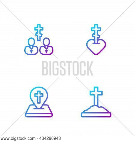 Set Line Grave With Cross, Location Church Building, Priest And Religious Heart. Gradient Color Icon