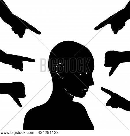 Sad Man  Silhouette. Stop Bullying. National Bullying Prevention Month In October