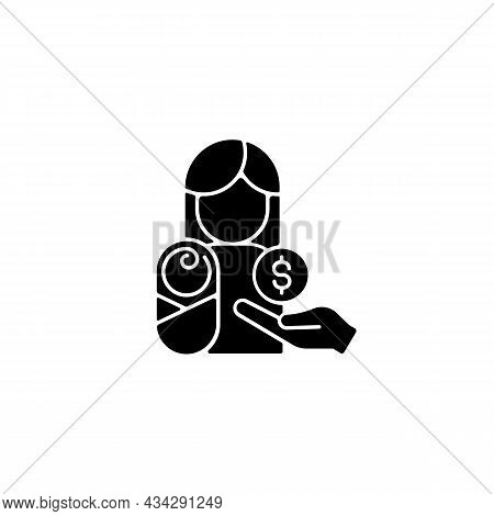 Paid Parental Leave Black Glyph Icon. Care For Born, Adopted Child. Improving Maternal Health. Famil