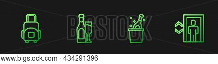 Set Line Bottle Of Champagne, Suitcase, Champagne Bottle With Glass And Lift. Gradient Color Icons.