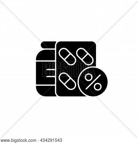 Reduced Prescription Drug Cost Black Glyph Icon. Providing Health Benefits To Employees. Saving Mone