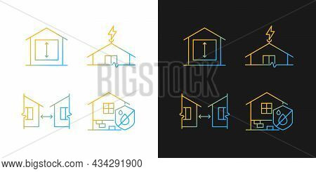 Building Safe House Gradient Icons Set For Dark And Light Mode. Distance Between Buildings. Thin Lin