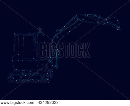 Contour Of A Small Excavator Made Of Blue Lines With Glowing Lights On A Dark Background. Vector Ill