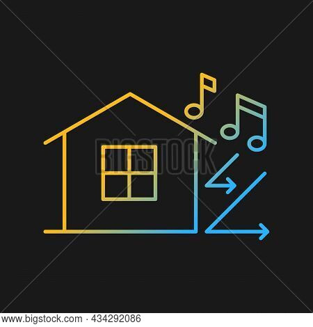 Sound Insulation Gradient Vector Icon For Dark Theme. Walls Soundproofing Performance Improvement. S