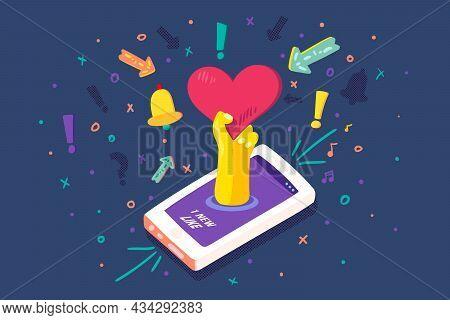 Mobile Device Social Media Like Notice Vector