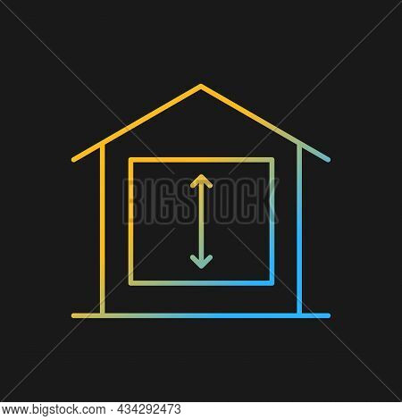Minimum Ceiling Heights Gradient Vector Icon For Dark Theme. Standards For Habitable Rooms. Resident