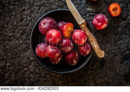 Macro Photo Food Fruit Plums. Texture Background Of Fresh Plums. Macro Photo Food Fruit Plums. Textu
