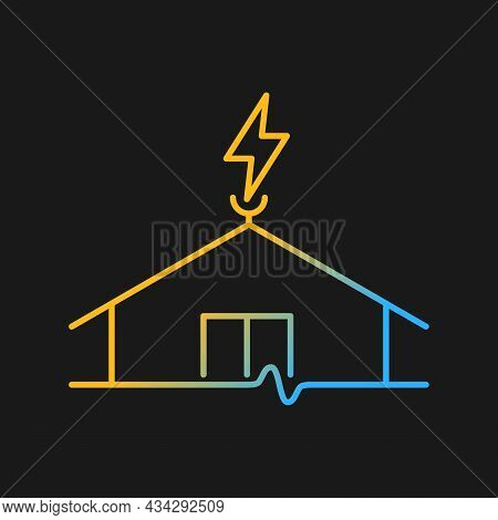Lightning Rod Gradient Vector Icon For Dark Theme. Protecting Buildings From Lightning Strike Damage