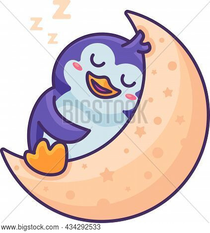 Penguin Antarctic Bird Sleeping On Moon Vector