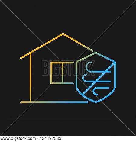 Weather Resistance Gradient Vector Icon For Dark Theme. Weatherproofing Apartment Building. Hurrican
