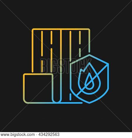 Resistance To Fire Gradient Vector Icon For Dark Theme. Choosing Fireproof Construction Materials. F