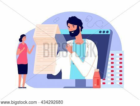 Online Diagnosis. Medical Rx, Telemedicine Concept. Woman In Online Pharmacy Buy Medications And Pil