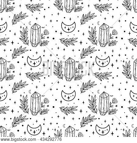 Moon Crystal Pattern. Celestial Moon, Floral Branch, Stars, Crystals Seamless Pattern. Black And Whi