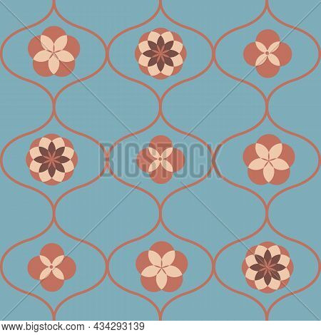 Roman Ogee, Quatrefoil, Hexafoil Vector Seamless Pattern Background. Azulejo Style With Historical M