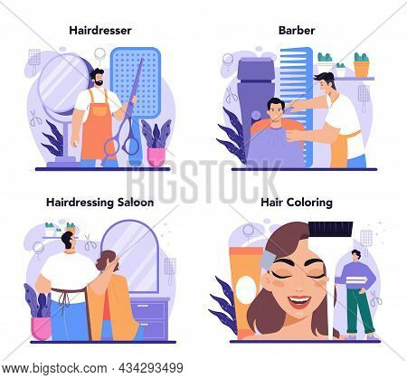Hairstylist Concept Set. Idea Of Hairdressing In Salon. Scissors And Brush