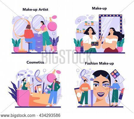 Make Up Artist Concept Set. Professional Artist Doing A Beauty Procedure