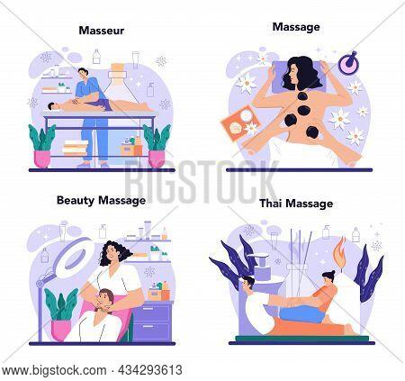 Masseur Concept Set. Spa Procedure In Beauty Salon. Massage Back