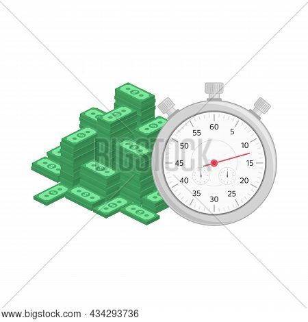 Fast Money Illustration In Flat Style. Quick Credit, Business And Finance Concept. Vector Time Is Mo