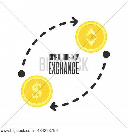 Cryptocurrency Exchange, Crypto-exchange Concept. Ethereum To Dollar Exchanging. Blockchain Technolo