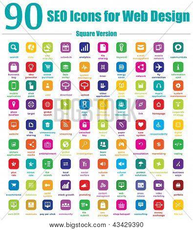 90 SEO Icons for Web Design - Square Version