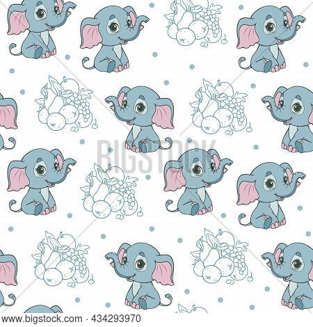 Seamless Pattern With Cute Elephants And Fruits On A White Background. An African Elephant Is Sittin
