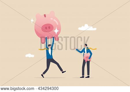 Investment Return Or Income Comparison, Success And Fail In Savings Or Pension Fund, Being Rich Or W
