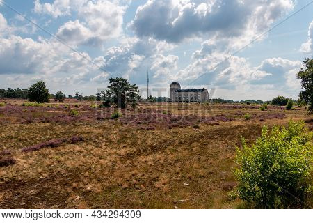 The 'kootwijker Sand' Nature Reserve With Beautiful Heather Fields And The Old Radio Station 'radio