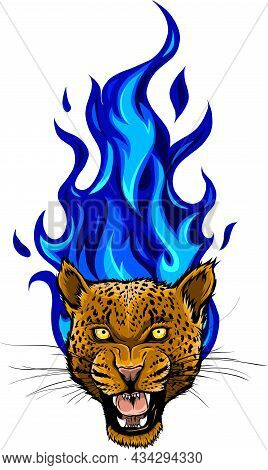 Vector Illustration Of Leopard Head With Fire.