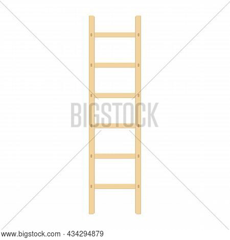 Wooden Ladder. Wood Step Ladders Isolated On White Background. Vector Illustration In Modern Flat St