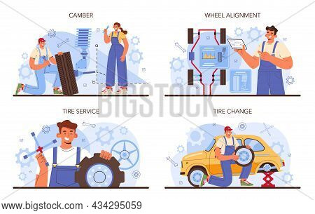 Car Tire Service Set. Worker Changing A Tire Of A Car. Camber And Alignment