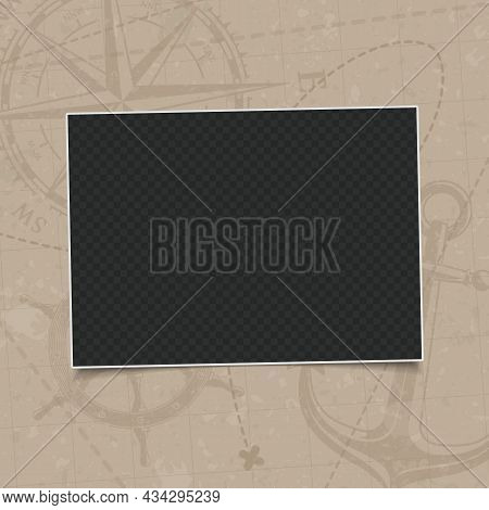 Retro Photo Frame Isolated On Vintage Background Old Navigation Map With Wind Rose, The Steering Whe