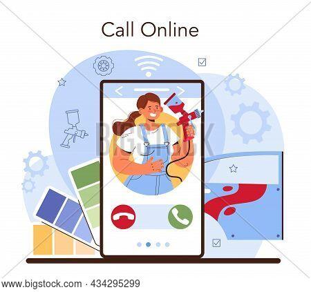 Car Service Online Service Or Platform. Mechanic In Uniform Paint