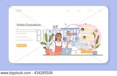 Tourism Expert Web Banner Or Landing Page. Online Consultation