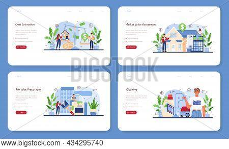 Real Estate Industry Web Banner Or Landing Page Set. Realtor Assistance