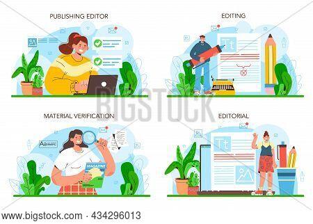 Publishing Editor Concept Set. Journalist Working On Magazine Article.