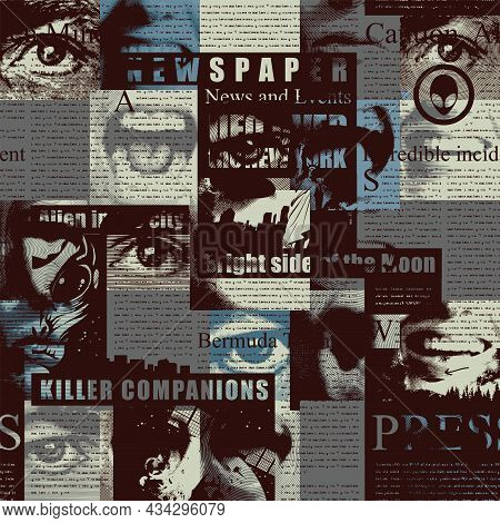Abstract Seamless Pattern With A Collage Of Newspaper Or Magazine Clippings In Dark Colors. Vector B