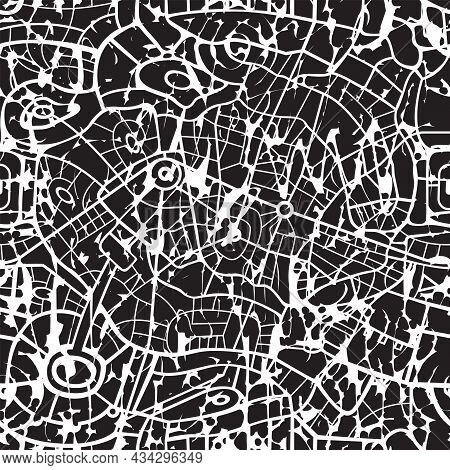 Abstract Seamless Pattern, Similar To The Roads Map Or Streets Plan Of A Large City. Black And White