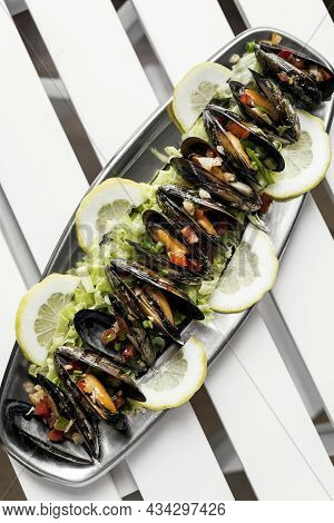 Steamed Mussels With Pico De Gallo Tapas Portion In Barcelona Restaurant Spain