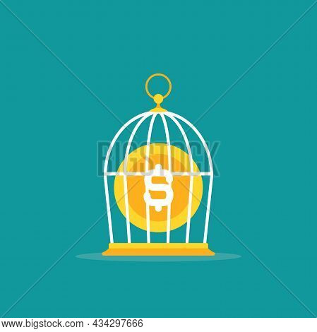 Locked Golden Bird Cage And Golden Dollar Coin With Wings. Trap, Imprisonment, Jail Concept. Limitat